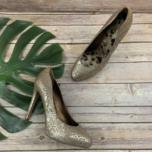 Sam Edelman Yasmine Snakeskin Print High Heels Size 9 Tan Metallic Leather Pumps - $38.60