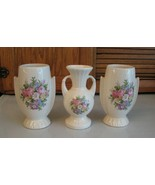 LOT 3 Very Old Vases Bouquet Flowers Decoration 2 Flower 1 Bud Grandma's... - $12.86