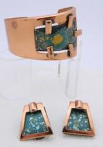 MATISSE RENOIR Copper Green Colorful Enamel Copper Bracelet Earrings Set - $163.35