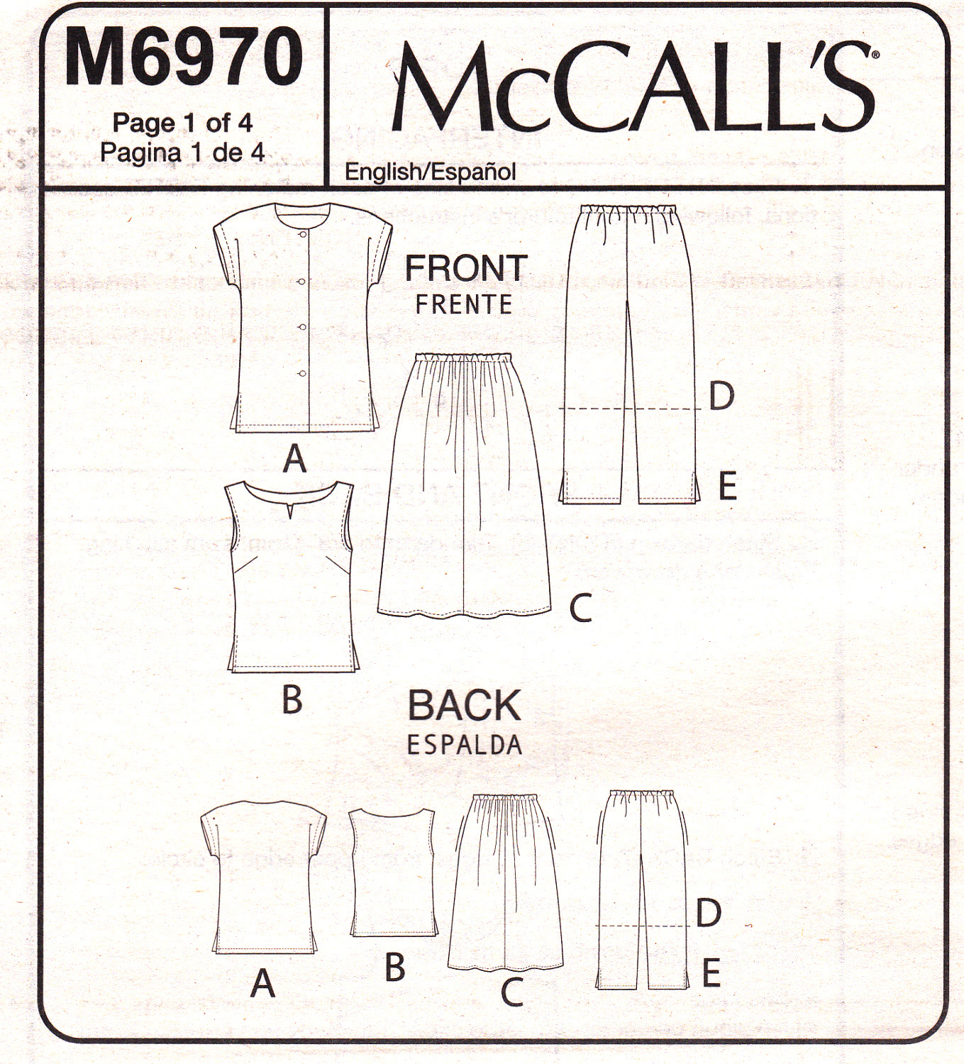 McCall's M6970 Womens Shirt Skirt Top Pants Sewing Pattern Sizes 26W-28W-30W-32W