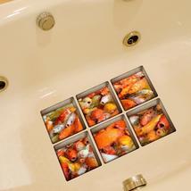 PAG 6pcs 13x13cm Golden Fish Pattern 3D Anti Slip Waterproof Bathtub Sti... - $19.30