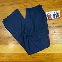 Dickies Scrubs Cargo Pants Womens Medium Hip-Flip Flare Leg 53202 Navy Blue - $16.82