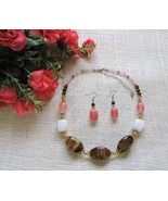 Gorgeous Natural Tigers Eye White Onyx Pink Crystal Fashion Necklace Ear... - $37.57