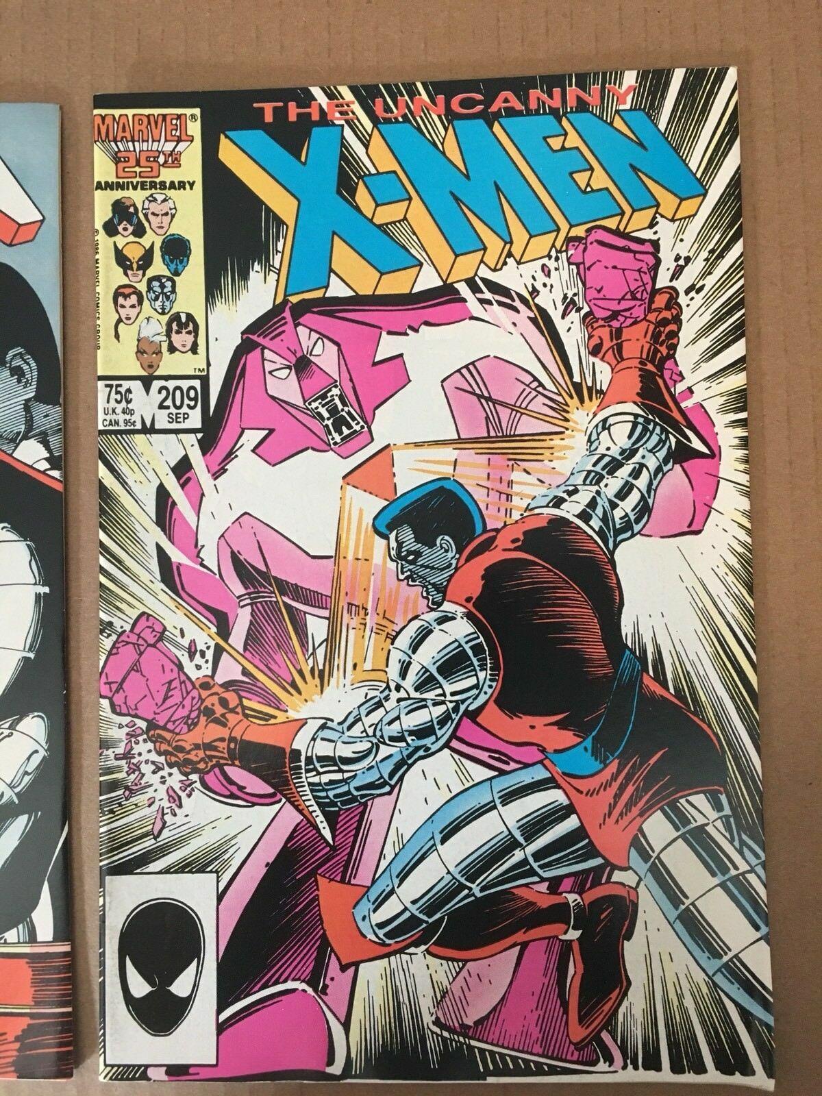 Uncanny X-Men 1st Series #209 210 1986 Marvel Comic Book Lot VF+ Condition X-MEN