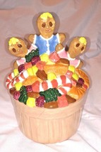 RARE Vintage GINGERBREAD MAN COOKIE JAR House 1986 Three Men Kids Candy ... - $69.95