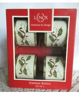 Lenox Multi Nouveau Holiday Holly Napkin Rings Brand New Sealed Set Of 4 - $24.00