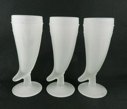 3 Indiana Glass Tiara White Frosted Mugs Pilsner Glass Powder Horn - $14.84