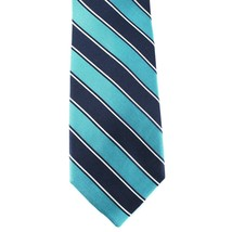 Club Room Neck Tie Teal Navy Blue Stripe 100% Silk Mens New - $14.99
