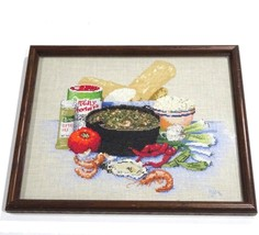 Needlepoint Cross Stitch Seafood Stew Shrimp Oysters Framed 16x13 - $42.75