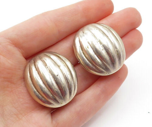 Primary image for MEXICO 925 Silver - Vintage Fluted Dome Design Non Pierce Earrings - E7872