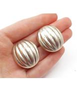MEXICO 925 Silver - Vintage Fluted Dome Design Non Pierce Earrings - E7872 - $60.92