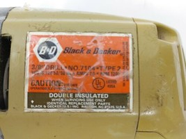 "Vintage/Old School 'Black & Decker 3/8"" Electric Corded DRILL Model 7104... - $14.25"