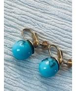 Estate Turquoise w Black Veins Round Plastic Bead Screwback Earrings – 3... - $8.59