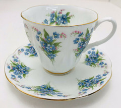 "Royal Albert Tea Cup & Saucer Dainty Dina Series ""Betty"" Blue Floral Vintage - $21.78"