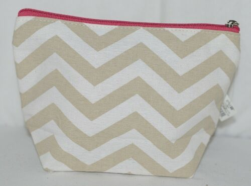 Ganz Brand ER39002 Style 101 Chevron Design Beige Tan Pink Zipper Makeup Bag