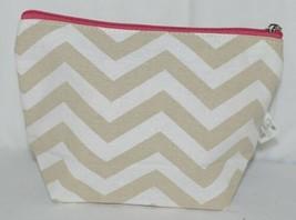 Ganz Brand ER39002 Style 101 Chevron Design Beige Tan Pink Zipper Makeup Bag image 1