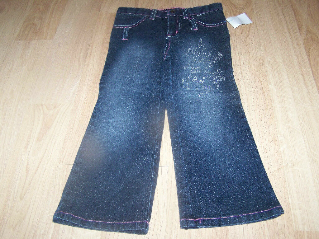 Primary image for Toddler Girls Size 4T French Toast Denim Blue Jeans Glitter Sparkle EUC