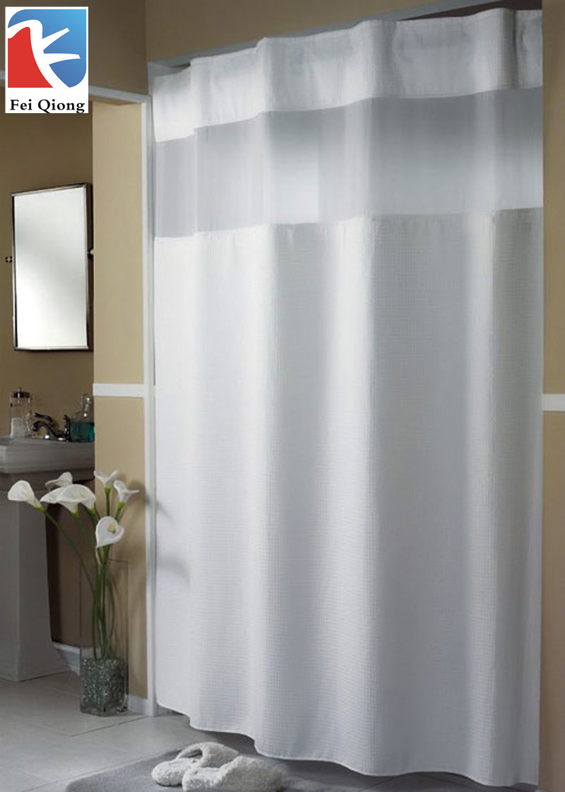 Stant shower curtain fabric with rustproof grommets and plastic hooks 100 polyester for bathroom