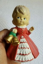"Ceramic 4"" Girl in Red Dress Holding Bells Christmas Village Decor • Pre... - $5.00"