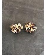 Earrings Posts Pierced Metal Brown Black Leopard Design Flower - $4.26
