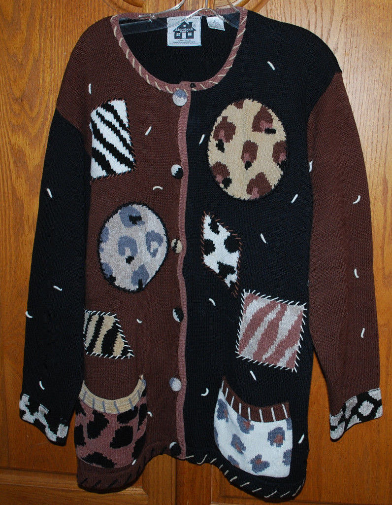 Primary image for Storybook Knits Large Cardigan Sweater Animal Prints HSN Clothing Exclusive