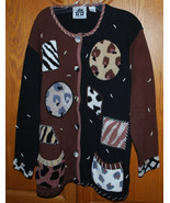 Storybook Knits Large Cardigan Sweater Animal Prints HSN Clothing Exclusive - $35.59