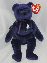 Princess Diana Di Rare Purple Flower Rose Ty Beanie Baby Plush - $49.49
