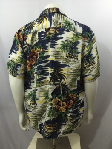 47a37c3b Hawaiian Shirt Hilo Hattie Aloha 100% Rayon XL Hawaii USA Tiki Lounge Mens