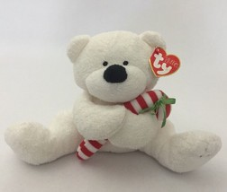 "2005 Ty Pluffies Candy Cane Bear White Holiday Christmas Baby Tag Plush 7"" - $17.81"