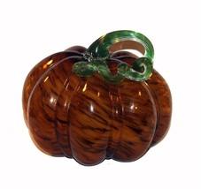 Handblown Large Glass Copper Brown Pumpkin Slanted Zebra Stripes Green S... - $39.99