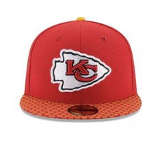 New Era 59Fifty Hat Kansas City Chiefs NFL 2017 On Field Sideline Fitted Hat!! image 2
