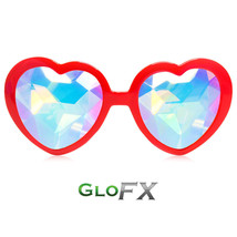 GloFX Heart Shaped Kaleidoscope Glasses - RED USA EDM Rainbow Prism Diffraction - $39.99