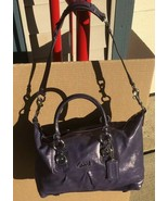 Coach F15445 Ashley Convertible Purple Leather Shoulder Purse Bag Euc - $105.00