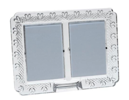 New Waterford Wedding Announcement Picture Frame Double Crystal Box Slee... - $123.49