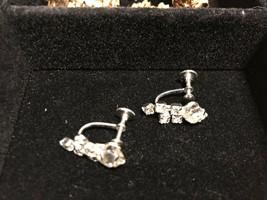 Vintage Signed Coro Rhinestone Screw Back Earrings - $7.91