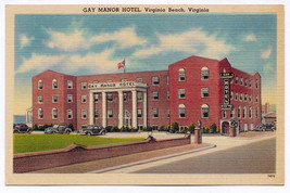 1930-45 Virginia Beach VA Gay Manor Hotel Ocean Front 39th Street RARE P... - $9.89