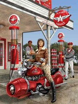 Flying A Service Station Futuristic Motorcycle Pin Up Metal Sign by Mitc... - $29.95