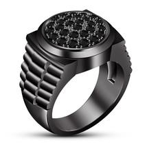 Clock Style Black Diamond Mens Anniversary Ring 14k Black Gold Finish 92... - $96.99