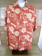 CARIBBEAN men Hawaiian ALOHA shirt L pit to pit 26 rayon tropical floral... - $15.67