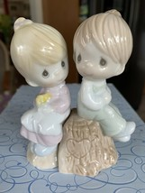 Enesco 1993 Precious Moments Salt & Pepper Shakers #357308 Girl Boy On S... - $19.99