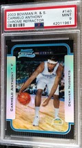 2003-04 Bowman Rookies & Stars Carmelo Anthony Chrome Refractor RC #140 PSA 9 - $399.99