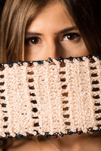 Hand-Knit Woolen Scarf with Crystal Beads and Pearls Crochet on Borders  - $34.99