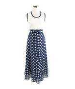 Dark blue white polka dot sleeveless vintage maxi dress XS - $22.50