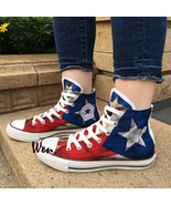 USA Puerto Rico Flag Converse All Star Design Hand Painted Canvas Shoes ... - $145.00