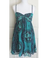 Free People Empire Waist Lined Teal Blue Floral Babydoll Tank Top Dress S - $21.95