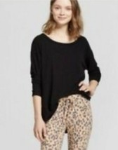 NWT Women's Xhilaration Stretch Long Sleeve Sleep Shirt Top Black Size X... - $3.99