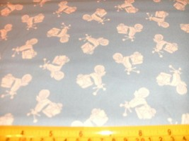 1 Yd Andover Quilt Fabric Vacation Tonal Scooter White on Blue - $7.69