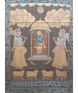 Devotional antique touch pichwai wall decor shrinathji puja hand painted... - $466.57