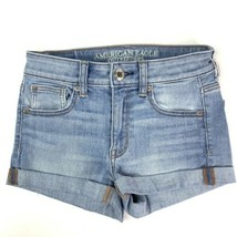 American Eagle jean shorts women's size 0 high rise shortie super stretch - $24.75