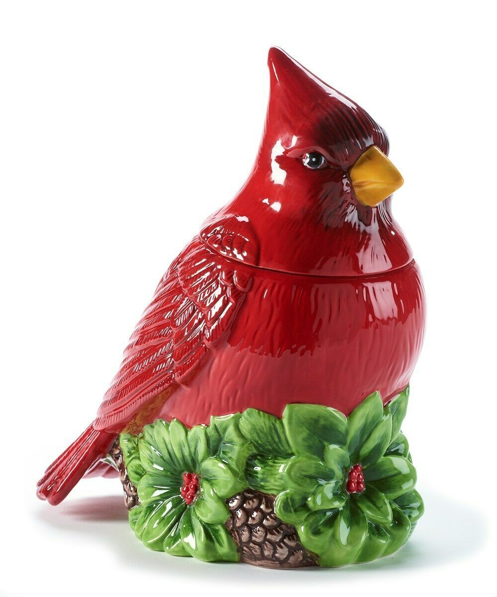 "11"" High Red Cardinal Bird Shaped Ceramic Cookie Jar"